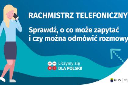 Na grafice jest napis: Rachmistrz telefoniczny. Sprawdź, o co może zapytać i czy można odmówić rozmowy? Obok widać kobietę rozmawiającą przez telefon. Na dole grafiki są cztery małe koła ze znakami dodawania, odejmowania, mnożenia i dzielenia, obok nich napis: Liczymy się dla Polski! W prawym dolnym rogu jest logotyp spisu: dwa nachodzące na siebie pionowo koła, GUS, pionowa kreska, NSP 2021.